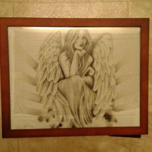 Angel drawing wall art